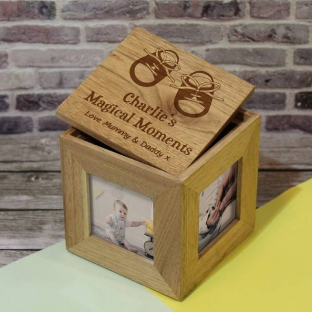 Personalised Baby Boy Shoes Photo Keepsake Box