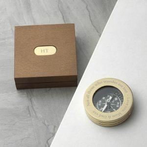 Personalised Brass Travellers Compass & Box