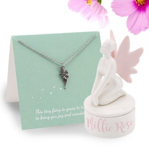 Personalised Ceramic Fairy Trinket Box & Necklace