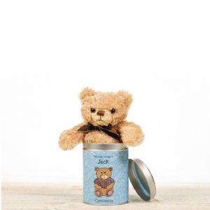 Personalised Christening Teddy In A Tin - For Boys