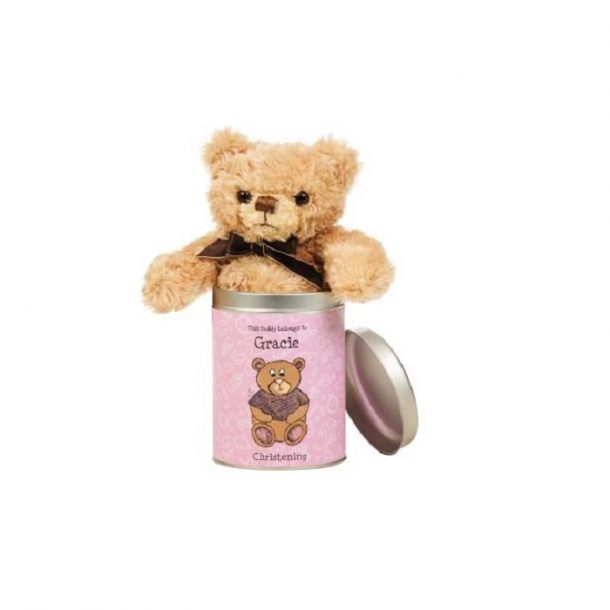 Personalised Christening Teddy In A Tin-For Girls