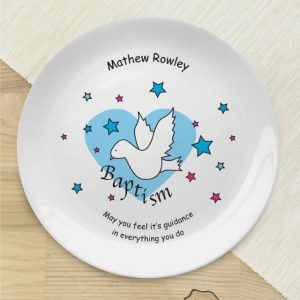 Personalised Dove & Hearts Blue Baptism Plate