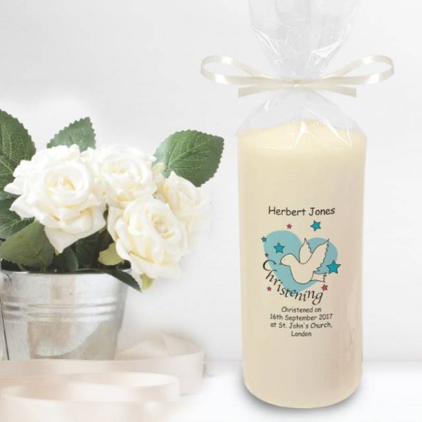 Personalised Dove & Hearts Blue Christening Candle
