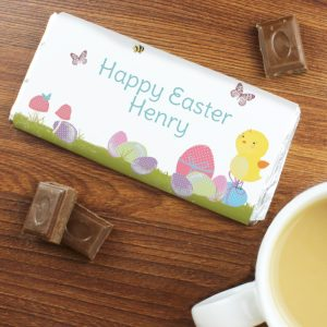 Personalised Easter Meadow Chick Milk Chocolate Bar