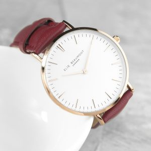 Personalised Elie Beaumont Ladies Leather Watch - Berry Red