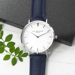 Personalised Modern Ladies Navy Leather Watch