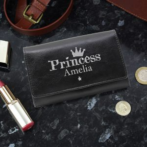 Personalised Princess Black Leather Purse