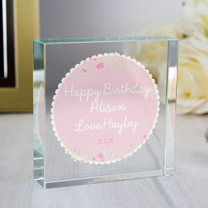 Personalised Scalloped Floral Large Crystal Token