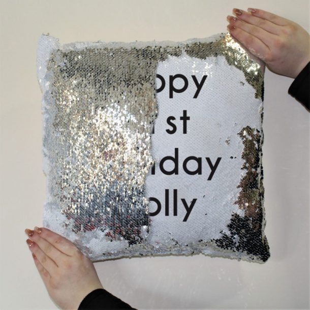 Personalised Secret Message Silver & White Sequin Cushion Cover