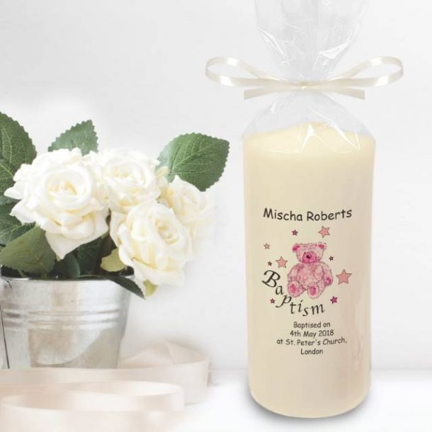 Personalised Teddy & Stars Pink Baptism Candle
