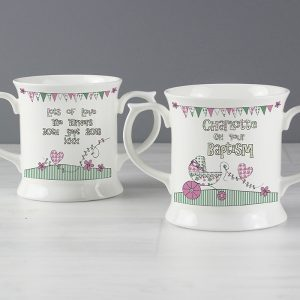 Personalised Whimsical Pram Pink Mug