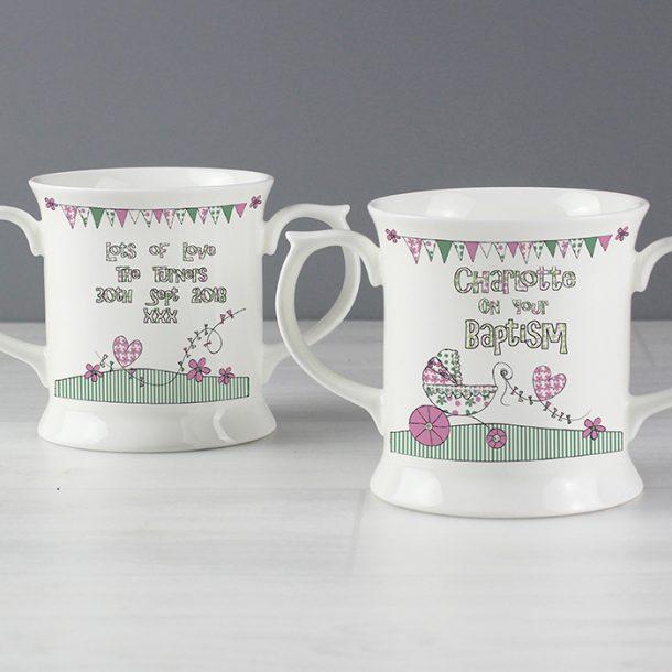 Personalised Whimsical Pram Pink Mug