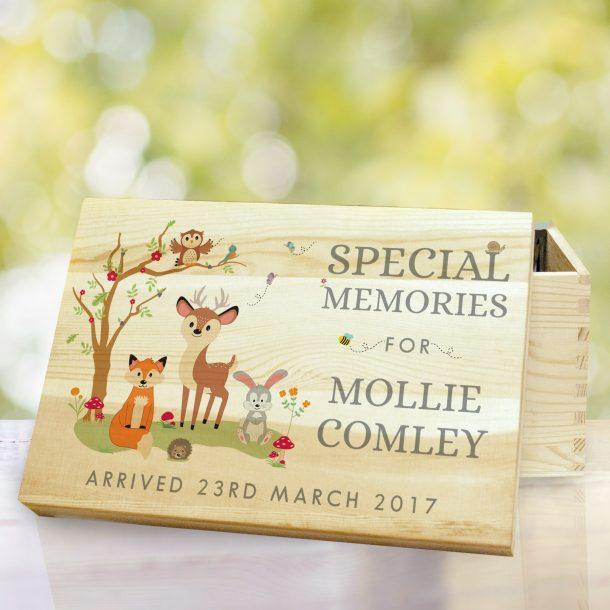Personalised Woodland Wooden Memory Box