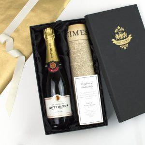 Taittinger Champagne & Original Newspaper