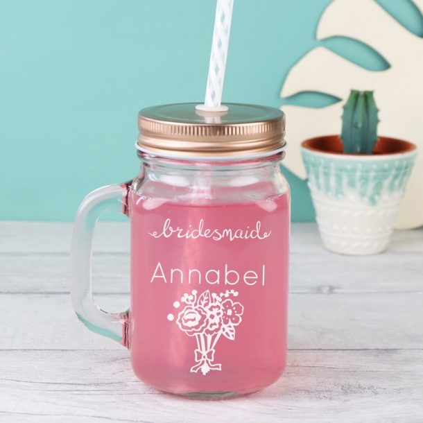 Engraved 'Bridesmaid' Mason Jar