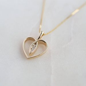 Gold Heart Diamond Necklace