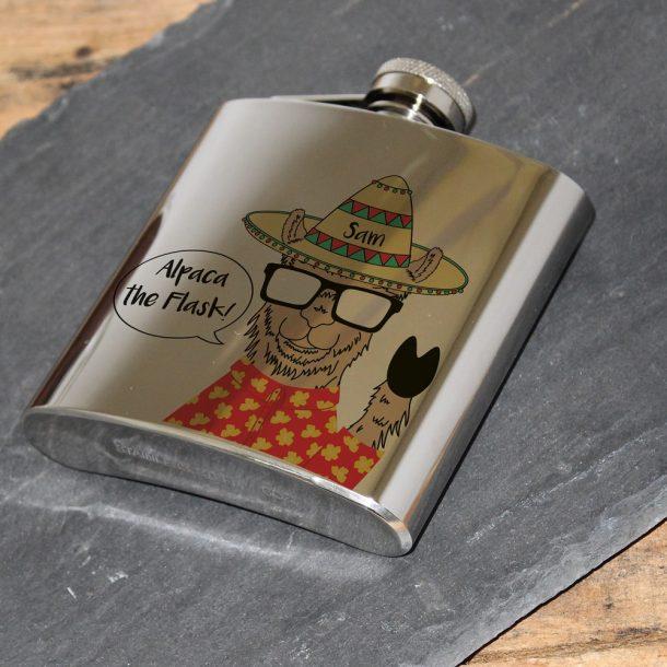 Personalised Alpaca Hip Flask