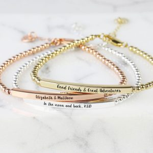 Personalised Beaded Bar Bracelet