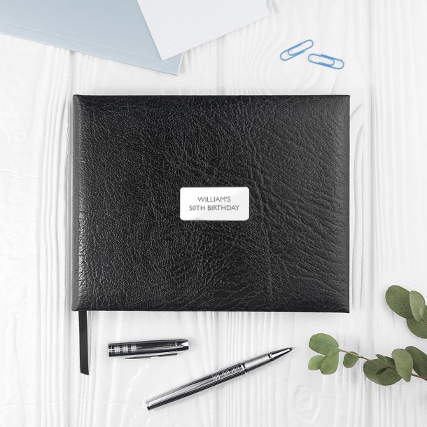 Personalised Black Leather Guest Book