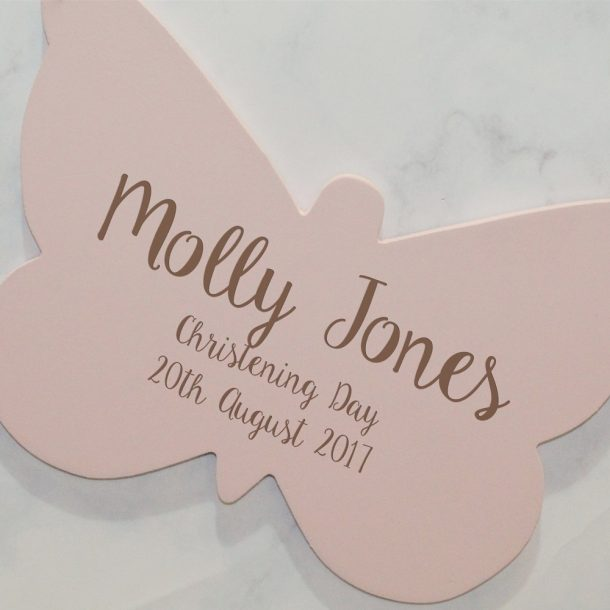 Personalised Christening Day Butterfly Hanging Sign