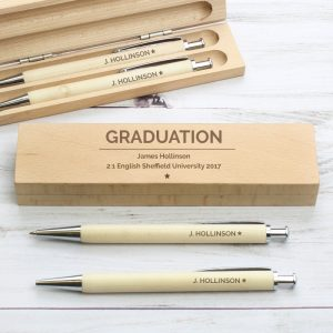 Personalised Classic Pen & Pencil Wooden Box Set