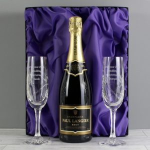 Personalised Crystal Flutes & Champagne with Gift Box
