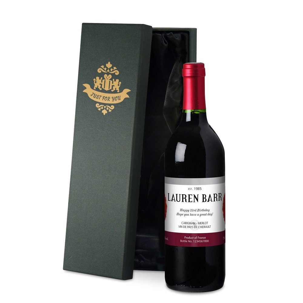 Personalised Flowers French Red Wine Luxury Gift Box Love My Gifts