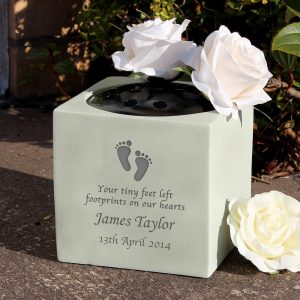 Personalised Footprints Memorial Vase