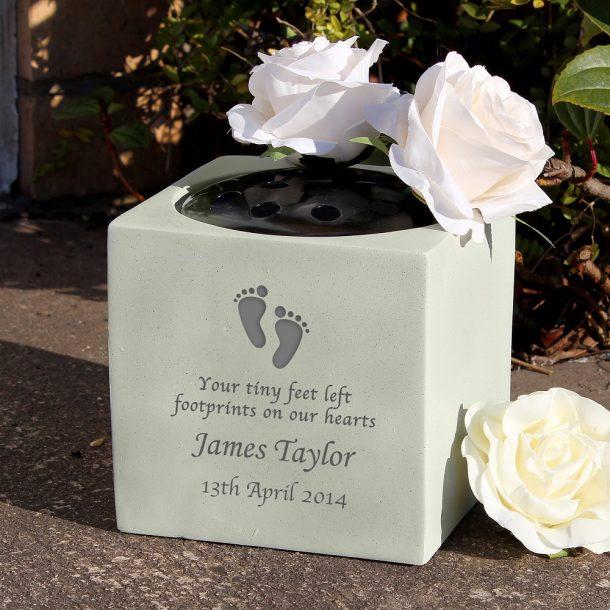 Personalised Footprints Memorial Vase