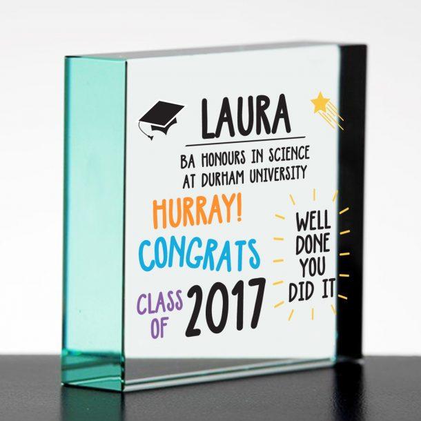 Personalised Graduation Glass Block