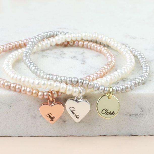 Personalised Handmade Seed Pearl & Charm Bracelet