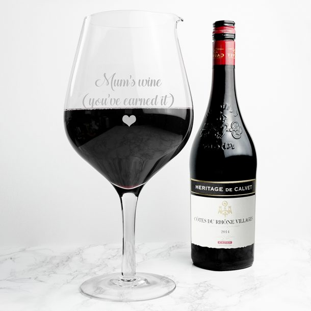 Personalised Jumbo Wine Glass - Exclusive Love Heart