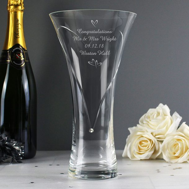 Personalised Little Hearts Vase With Swarovski Elements