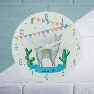 Personalised Llama Fiesta Glass Clock