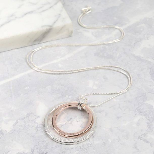 Personalised Long Mixed Metal Double Circle Necklace