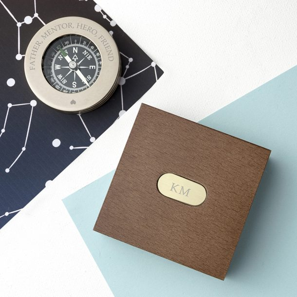 Personalised Love Brass Travellers Compass & Box