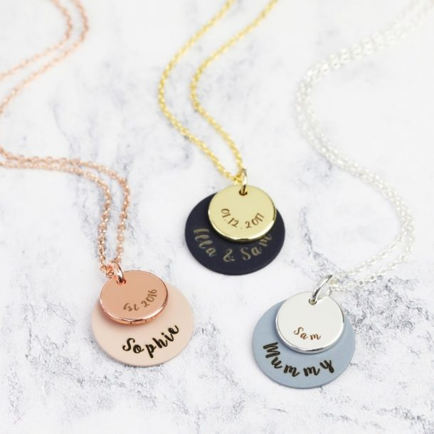 Personalised Matt Double Disc Necklace