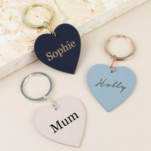Personalised Matt Heart Keyring