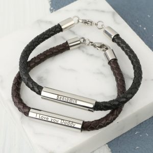 Personalised Men's Leather Tube Bracelet