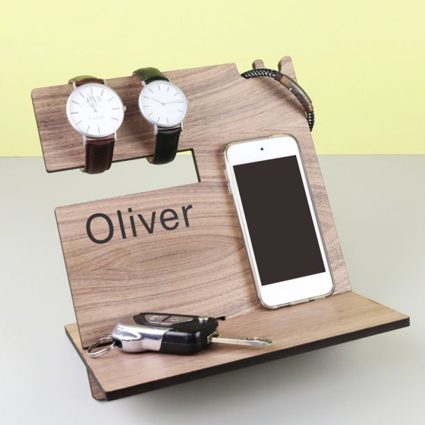 Personalised Men's Wooden Accessory Stand