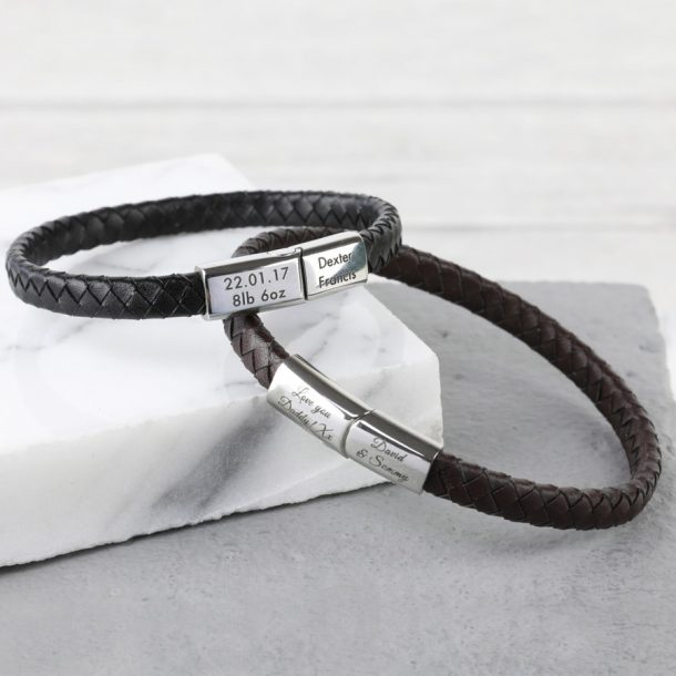 Personalised Men's Woven Bracelet with Magnetic Clasp