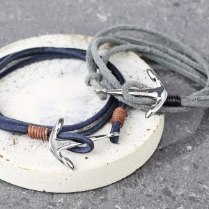 Personalised Men's Wrap Bracelet & Anchor Clasp