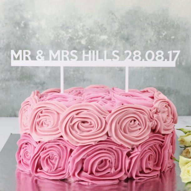 Personalised 'Mr & Mrs' Acrylic Wedding Cake Topper
