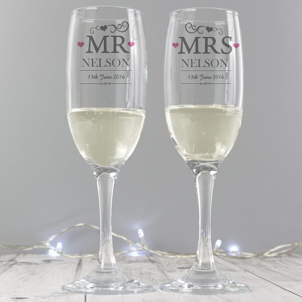 Personalised Mr & Mrs Pair of Flutes & Gift Box