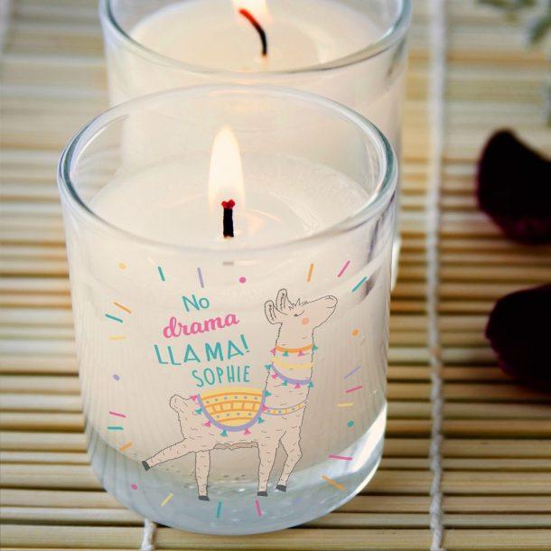 Personalised No Drama Llama Vanilla Scented Candle