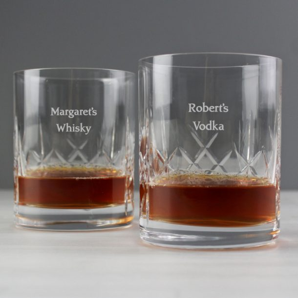 Personalised Pair of Crystal Whisky Tumblers