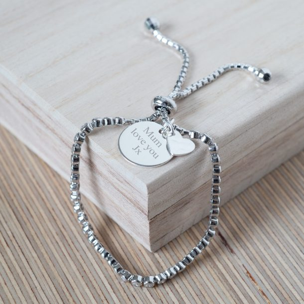 Personalised Silver Slim Slider Bracelet