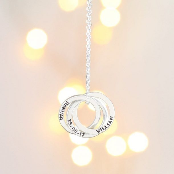 Personalised Sterling Silver Russian Ring Necklace