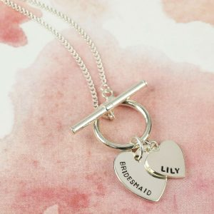 Personalised Sterling Silver Toggle & Charm Necklace