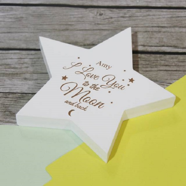 Personalised To The Moon & Back Wooden Star Plaque